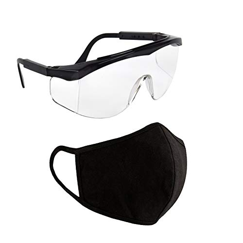 Protective SAFETY GLASSES Eye Protection Goggles + Reusable FACE MOUTH COVER