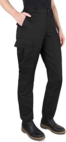 normani Damen Rangerhose wasserbweisend Outdoor Bundhose mit Cargotaschen und Frauenschnitt [XS-L] Farbe Schwarz Größe S