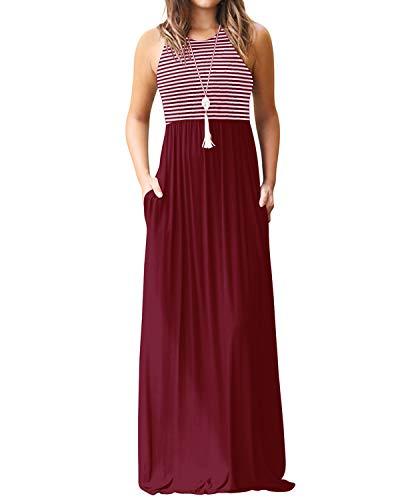 Yoins Vestido largo de verano para mujer, sin mangas, con rayas, vestido de playa A vino tinto. M