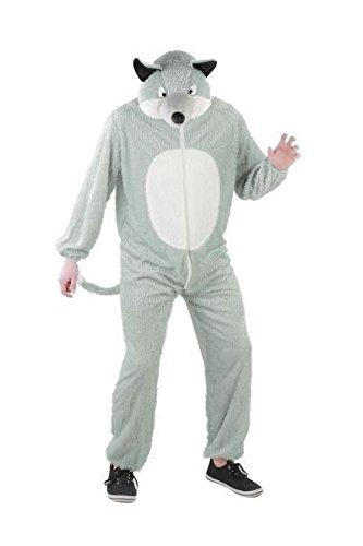 Foxxeo Wolf Kostüm für Erwachsene Damen und Herren Tierkostüm Overall Jumpsuit Größe XXL