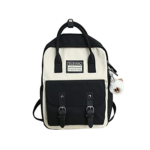 ZWRY Mochila infantil Mochila de nailon para mujer, mochilas escolares impermeables de color caramelo para adolescentes, mochila de retazos, mochila femenina, negro