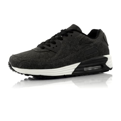Fusskleidung® Damen Herren Sportschuhe Dämpfung Sneaker leichte Laufschuhe Schwarz Weiß EU 40