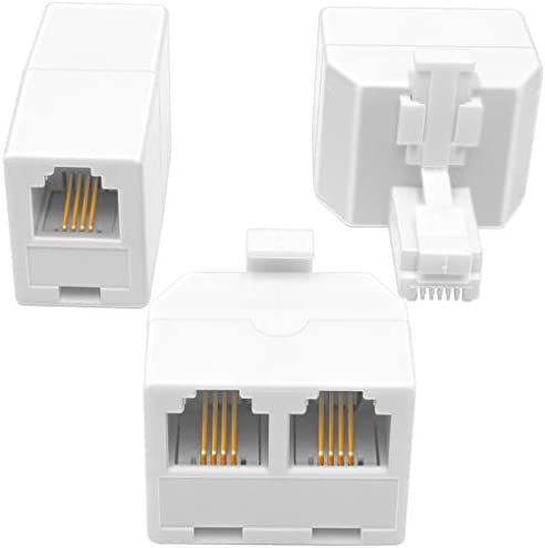 NECABLES 2 1Pack 2pcs Double Phone Jack Splitter RJ11 6P4C 1 Male to 2 Females and 1pc Phone product image