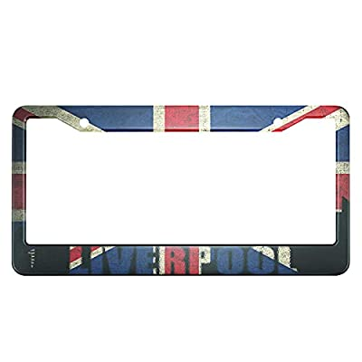Swono British Flag License Plate Frame View of Liverpool on The Grunge British Flag License Plate Cover Aluminum Metal License Plate Holder Frame for Women Men Auto Decoration for US Car/Truck