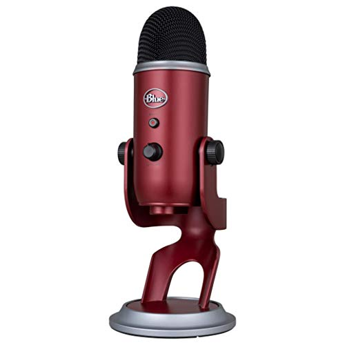Blue Yeti USB Mic for Recording & Streaming on PC and Mac, 3 Condenser Capsules, 4 Pickup Patterns, Headphone Output and Volume Control, Mic Gain Control, Adjustable Stand, Plug & Play -Crimson Red