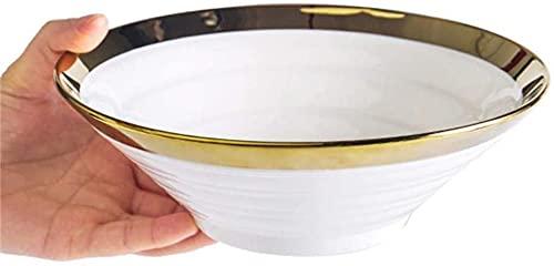 KMILE -Style cerámico tazón Blanco tazón de Oro Borde tazón instantáneo Fideos Cuenco Carne de Res de Fideos de Fideos Fruta Verduras Ensalada bibimbap Cuenco 20.2 × 6.6cm Pasta Bowls