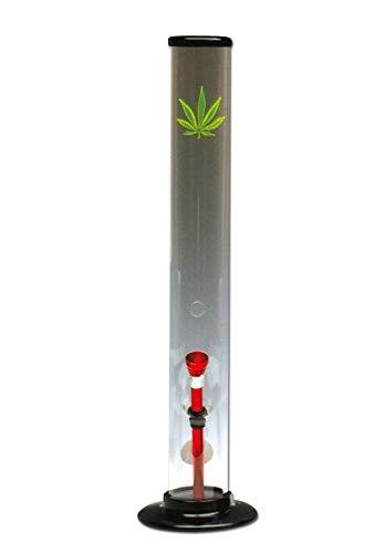 Other Side Wasserpfeife, Acryl-Bong, Zylinder-Bong | 40 cm | UV-Motiv Hanf - leuchtet unter UV-Licht | von bong-discount