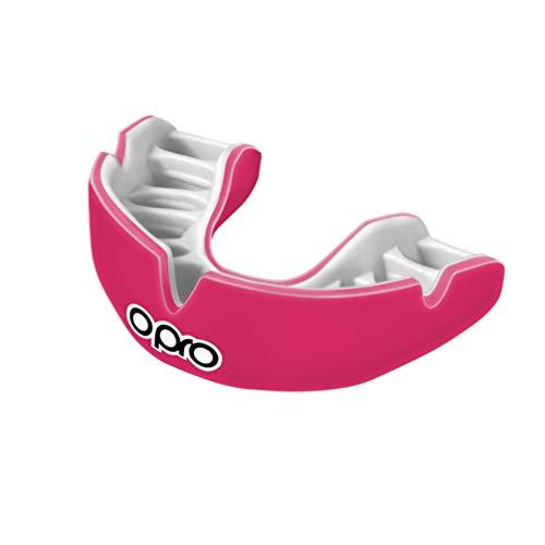 OPRO Power-Fit | Mouthguard Hecho a Mano para Adultos | Escudo de Goma para Rugby, Hockey, Lacrosse, Boxeo y Otros Deportes de Contacto y Combate (10 años o más) | 18 Meses de garantía Dental (Rosa)
