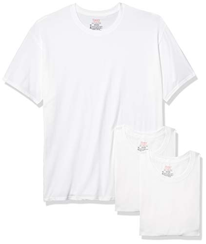 Hanes Men's Tagless Stretch White Crewneck T-Shirts, 3 Pack, Small