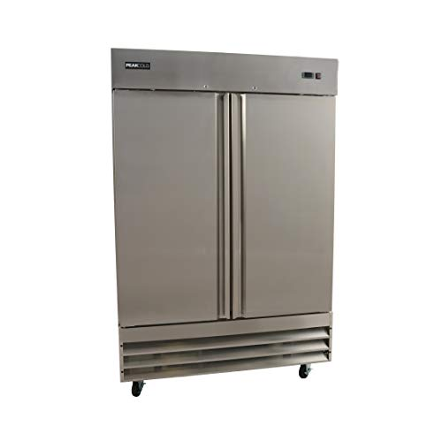 PeakCold 2 Door Commercial Stainless Steel Freezer, White Interior; 47 Cubic Ft, 54' Wide