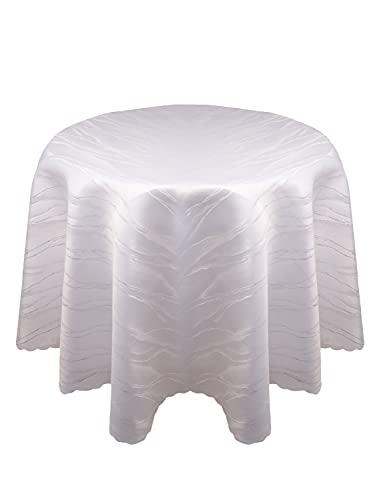 Damast YSN610 Tischdecke, Lotuseffekt - 160 cm rund - weiß