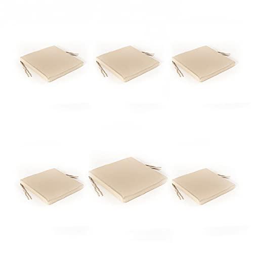 Edenjardi Pack 6 Cojines textilene para sillas de Exterior Color Arena | Tamaño 44x44x5 cm | Tela Antimanchas | Desenfundable | Portes Gratis
