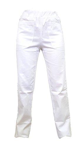 Tecno Hospital Pantaloni con Elastico E Tasche Anteriori,OSPEDALIERO Sanitario Unisex Infermiere ESTETICA Medico OSS OPERATORE Scolastico, Personale OSPEDALIERO (Bianco, XS)