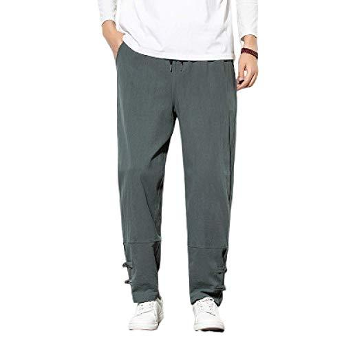 Huntrly Pantalones de Lino para Hombre, Holgados, Informales, Ligeros, con cordón, Cintura elástica y Pantalones de Playa para Yoga L