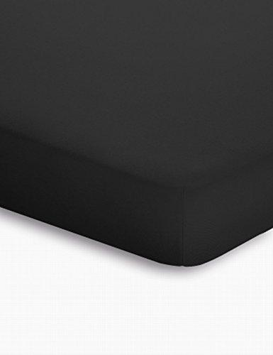 schlafgut Jersey-Elasthan Topper Spannbetttuch, Baumwoll-Mischgewebe, schwarz, 220 x 200 cm