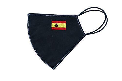 Máscara facial plegable con una bandera bordada de país de elección, reutilizable y lavable, antipolvo, protector facial 100% algodón (Large, España)