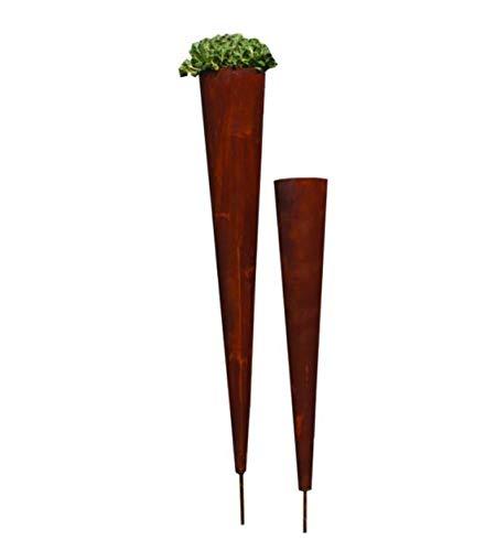 Edelrost Spitztüte auf Stab Gartendekoration Tütenvase Rost Pflanztüte Gartenstecker