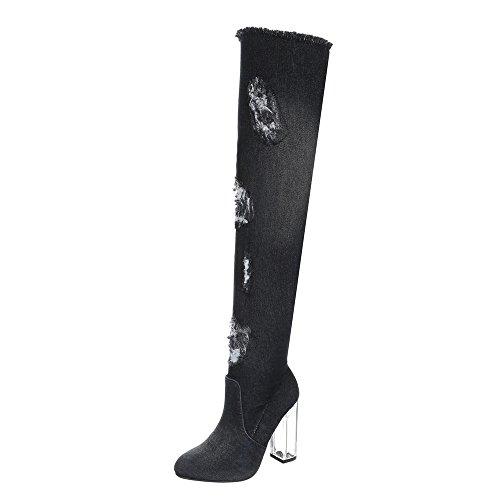 Ital-Design Overknees Damen-Schuhe Overknees Pump High Heels Reißverschluss Stiefel Schwarz, Gr 38, Hp-43-