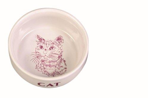 Trixie - Bol de cerámica con diseño de gato, 0.3 L, 1 unidad
