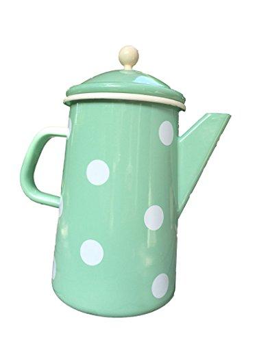 Münder-Emaille - Kaffeekanne - Teekanne - Mint mit weißen Tupfen - Ø12xH23cm - 1,6 L