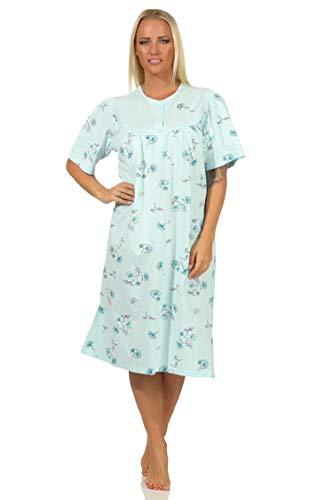 NORMANN-Wäschefabrik Frauliches Damen Nachthemd Kurzarm mit Knopfleiste am Hals in floraler Optik - 112 90 193, Farbe:helltürkis, Größe:48-50
