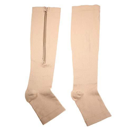 Calcetines de compresión Calcetines con soporte para rodillas Transpirables Ligeros para usar en viajes para reducir la hinchazón y aliviar el dolor de piernas para uso doméstico(skin, L/XL)