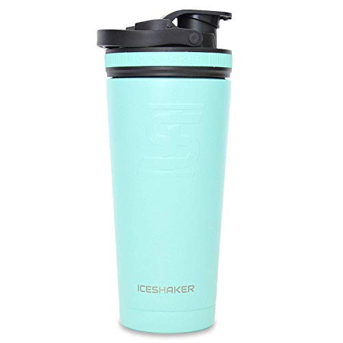 Ice Shaker | Stainless Steel Protein Shaker Bottle for Gym, Cycling, Running, Yoga, Leak Proof, Double Wall Vacuum Insulated Water Bottle (750 ml, Mint, 26 Oz)