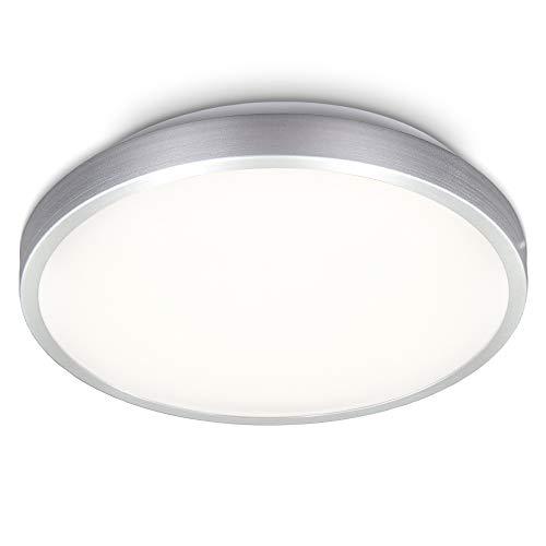 B.K.Licht LED Deckenleuchte I Deckenlampe I Aluminiumfarbig I inkl. 12W LED Platine I 1200lm I 3000K warmweiße Lichtfarbe I IP20 I Ø288mm