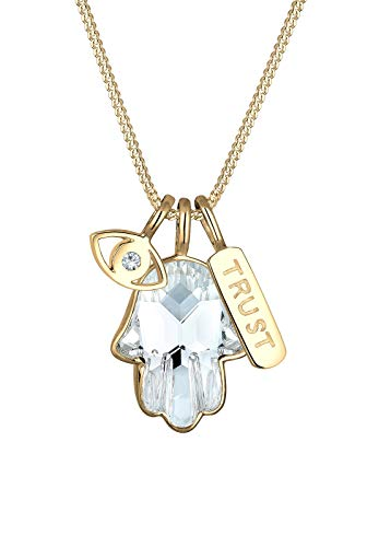Elli Halskette Hamsa Evil Eye Swarovski® Kristalle 925 Silber