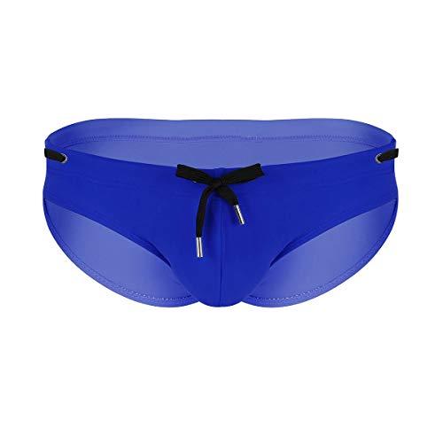 iiniim Bañador Slip de Natación Hombres Pantalones de Baño Clásico Cordón con Relleno Push Up Sexy Bikini Briefs Bulge Bolsa Traje de Baño para Adultos Acolchado Extraíble Azul X-Large