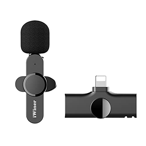 Wireless Lavalier Microphone, iWiner Wireless Lapel Mic for YouTube, Facebook Live Stream, Audio Video Recording Compatible for iPhone iPad, Auto-syncs Mic for Vloggers, Interview
