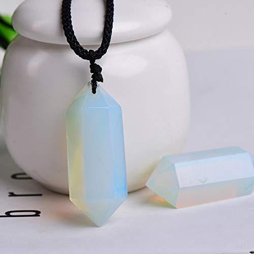 Natural Rainbow Fluorite Collar Punto Single Punto Prisma Hexagonal Colgante Cristal Rayado Collar de Fluorita Salud Energía Piedra 1pc (Color : Opal)