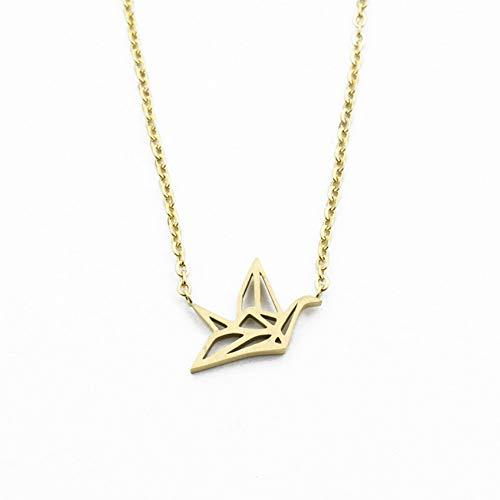 LINLIN Origami Crane Necklace Animal Jewelry Acero Inoxidable Color Oro Origami Bird Colgante Collar Regalos de Dama de Honor