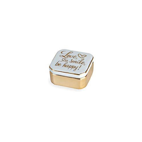 Balvi Porta Anillos Golden Box Love Color Azul Cajita para Anillos, Pendientes y Otras Joyas pequeñas Porcelana 4,9cm