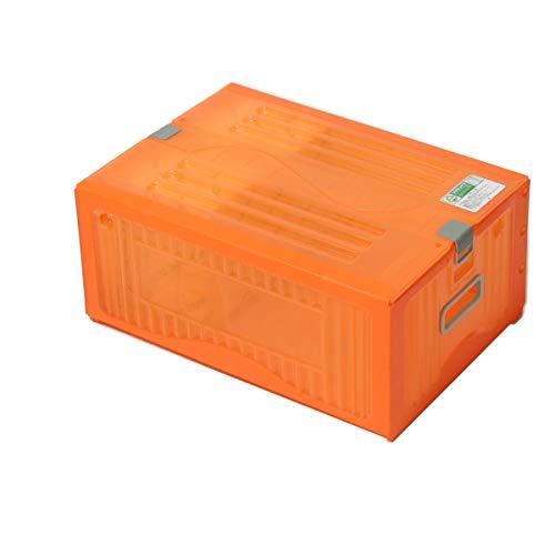アースダンボール 収納ボックス ふた付き コンテナボックス プラスチック 1箱 オレンジ 【445×312×186mm】【1332】
