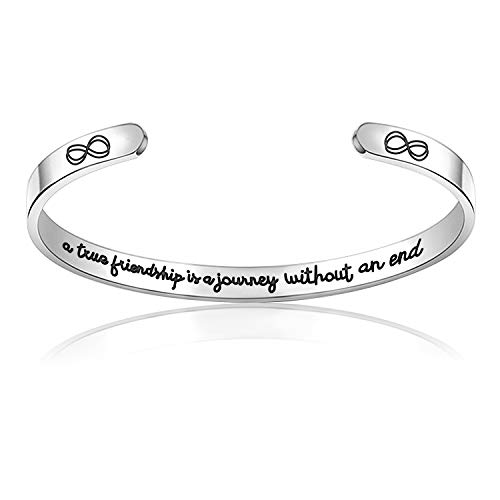 Inspirational Cuff Bracelets I am a Fucking Warrior Personalized Gifts for Best Friend,Women,Family Birthday Gift (A true friendship is a Journey without an end)