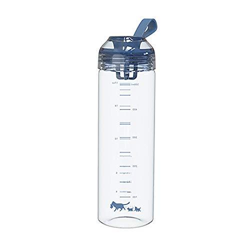 1 botella de agua deportiva con mango de escala reutilizable de plástico azul oscuro 500 ml