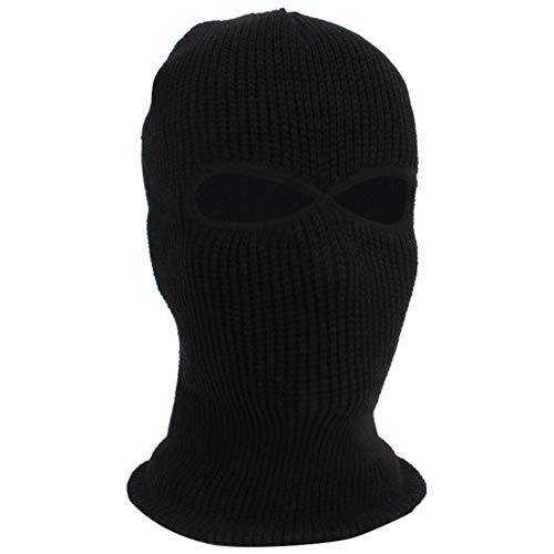 LYQR 3 Piezas Invierno Térmica Pasamontañas 2 Agujero Cara Máscara, Elástico Un Tamaño, De Punto Capucha Cuello Más Cálido Esquí Pescar Paintball,Negro