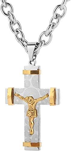 Aluyouqi Co.,ltd Collar 7.5Mm Plata/Collar con Colgante de Cruz para Hombres O Cadena de eslabones Joyería Regalo Masculino