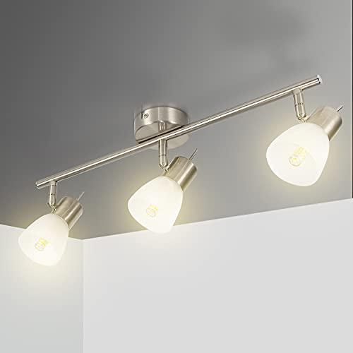 Deckenstrahler 3 Flammig Led Deckenleuchte Schwenkbar Deckenlampe E14 Wohnzimmerlampe aus Edelstahlglas 230V, Inkl.3 * 7W Warmweiß Leuchtmittel