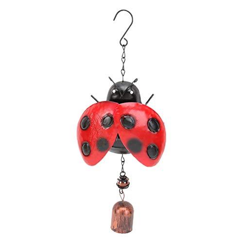 YARNOW 1 Campana de Viento de Insectos de Metal 3D Campana de Viento de Mariquita de Hierro Forjado Vintage con Gancho Colgante Decorativo de Campanas de Viento para Interior Y Exterior