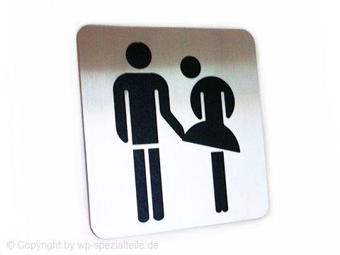 Edelstahl Toilettenschild Lustig V2a Männertoilette & Frauentoilette Unisex Damen Herren Gäste WC Zeichen Kloschild Klo Türschild Toilette Schild Piktogramm für Klotür Wegweiser