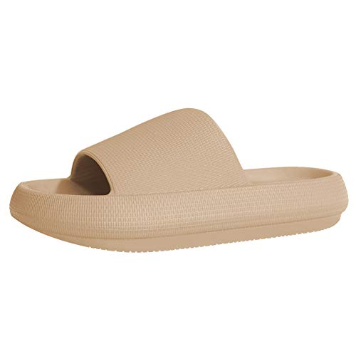 EQUICK Slippers for Women and Men Shower Quick Drying Bathroom Sandals Open Toe Soft Cushioned Extra Thick Non-Slip Massage Pool Gym House Slipper for Indoor & OutdoorU220SYSTX-Milk tea-37-38