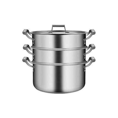 FYRMMD Vaporera de arroz y Verduras de Cocina Saludable de 36 cm, vaporera de 3 Capas, manija de refrigeración, Acero Inoxidable, Utensilios de Cocina