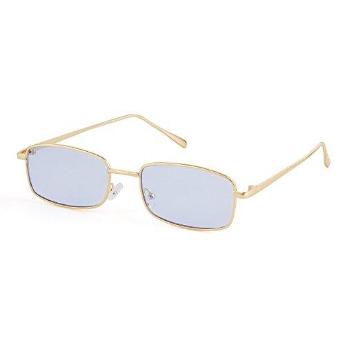 ADEWU Platz Sonnenbrille Mode Retro Brille für Damen Herren (Blau Linse + Gold Rahmen)