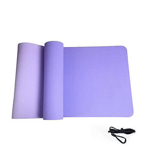 Pkfinrd Esterilla de yoga clásica y simple de 6 mm de grosor, antideslizante, se puede limpiar y compacta, apta para el hogar, fitness, viajes, hombres y mujeres, azul marino, 183 x 61 x 0,6 cm