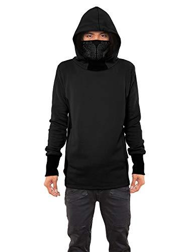 Men's Nobunga Hoodie Japanese Ninja Cowl Neck Black Printed Pullover Outwear L
