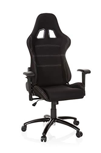 hjh OFFICE Gaming-stol Game Force tyg, armstöd, ergonomisk sportstol, huvudstöd, justerbar höjd, fåtöljer (svart, tyg)