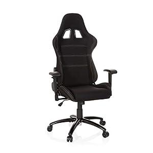 hjh OFFICE 729340 Silla Gaming Game Force Tejido Negro/Naranja Silla de Oficina reclinable Silla Escritorio