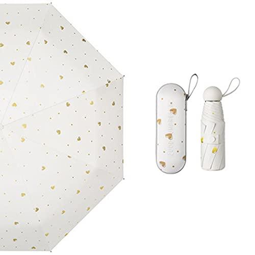 Sombrilla, paraguas compacto y portátil, protección solar y anti-ultravioleta, paraguas plegable de cinco pliegues, paraguas cápsula